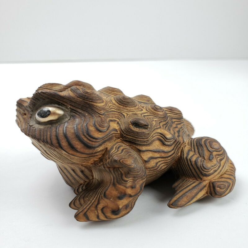 "Vintage Signed Mid Century Cryptomeria Sugi Wood Frog Horny Toad Japan 3.5"""
