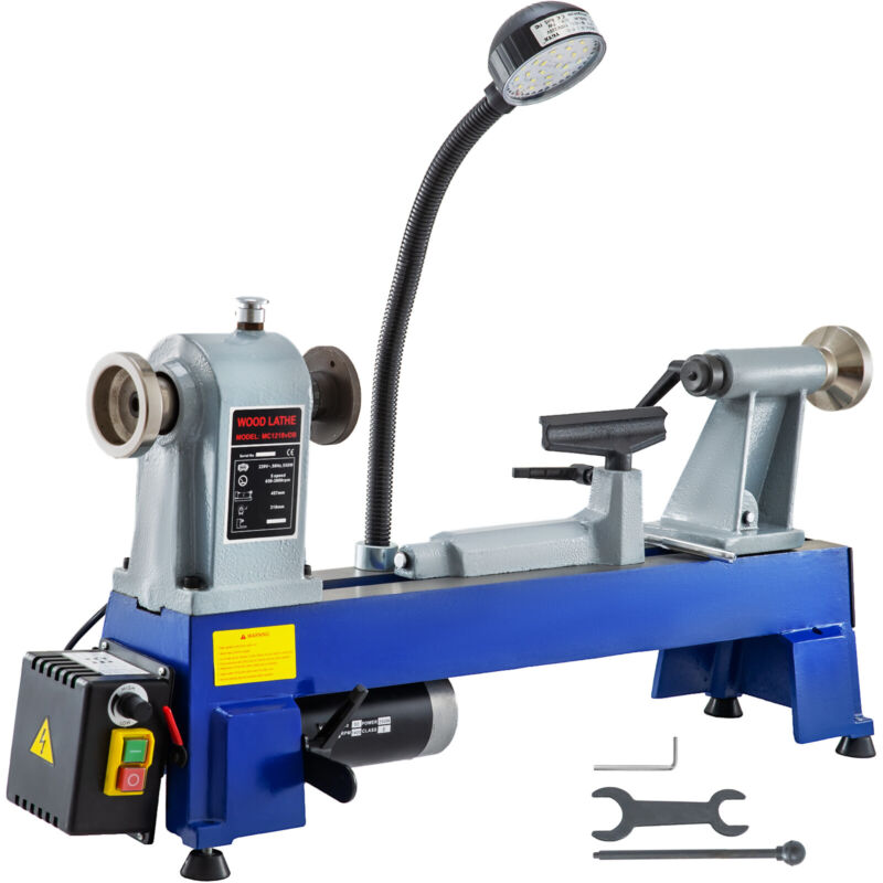 """12"""" X 18"""" Mini Wood Lathe 550W W/LED Light Variable Speed Accurate Low Noise"""