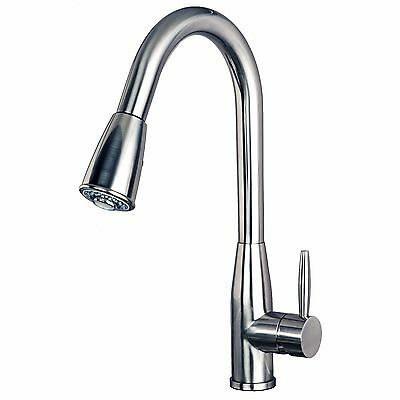 """Contemporary 16"""" Pull-Down Spray Kitchen Sink Faucet Stainless Steel Finish"""