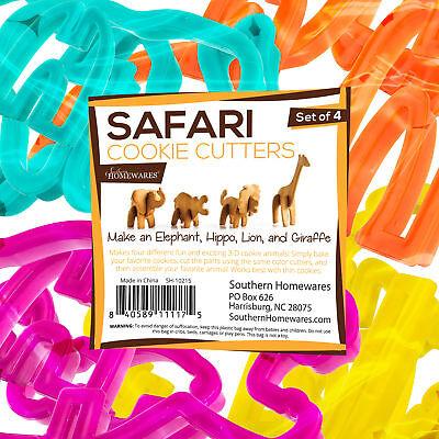 3D Safari Animal Cookie Cutter Set of 4 Elephant Hippo Lion Giraffe Shapes Fun