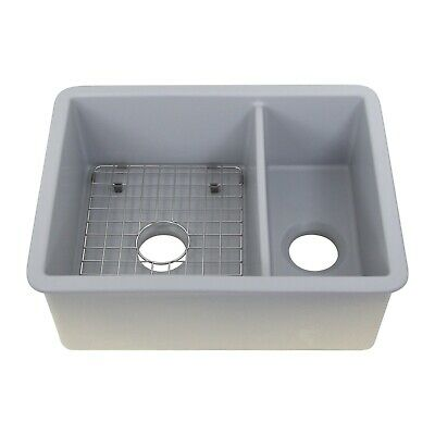 21 Inch double bowl Undermount or Drop in Fireclay Sink Grey - Save Your -