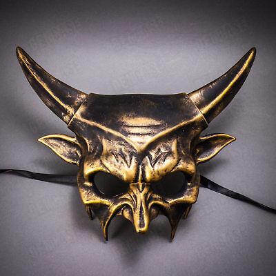 Demon Devil Halloween Mask Costume Metallic Gold Half Face Men Masquerade Mask](Demon Face Halloween)