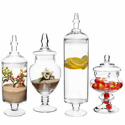 (Set of 4) Clear Glass Lid Apothecary Jars / Candy Buffet / Wedding Centerpiece](Candy Jar Buffet Set)