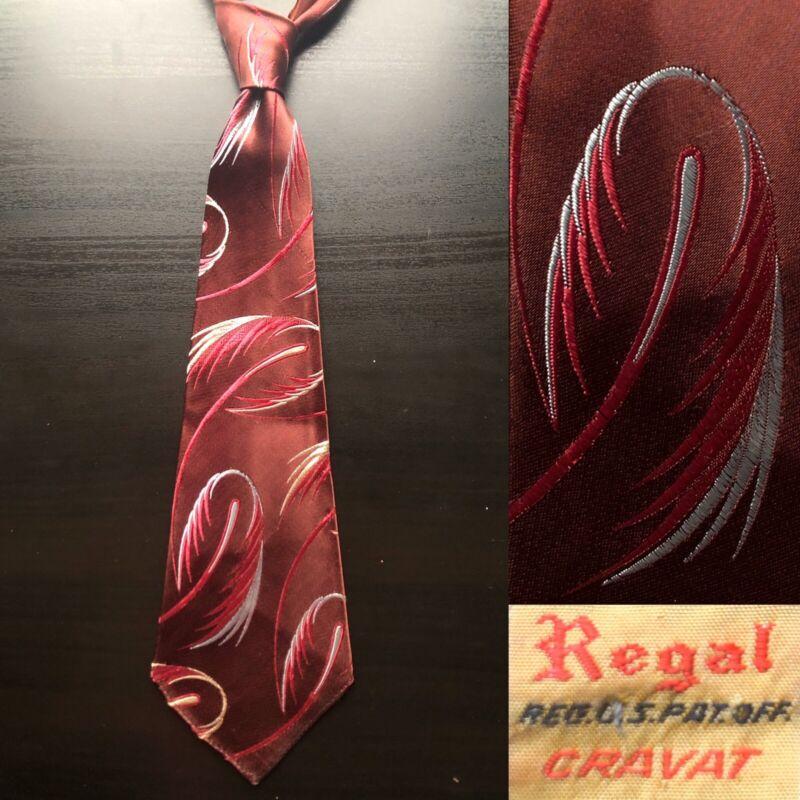 "Regal ""Comets"" Burgundy Brocade Tie EUC VTG 1930s 1940s Bold Look Art Deco"