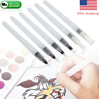 6pcs/set Water Brush Ink Pen Refillable Artist Pen Clear for Watercolor Painting ()