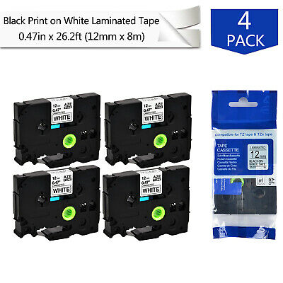 4pk 0.47 Label Tape For Brother P-touch Pt-d400 D600 Tz Tze-231 Black On White