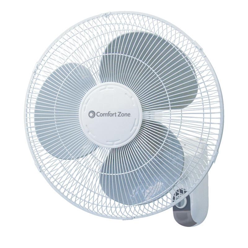 """Comfort Zone CZ16W Oscillating 16"""" 3-Speed Wall-Mount Fan"""