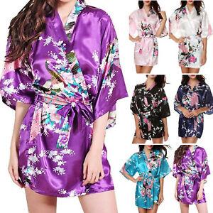 Mujer-Floral-De-Saten-Para-Boda-Pijama-Novia-Kimono-Albornoz-Bata-Pijama