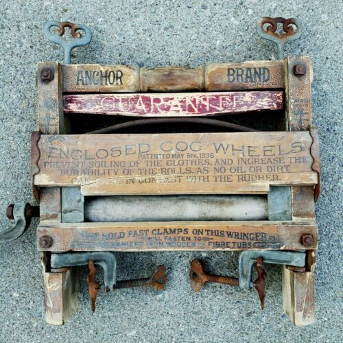 Antique Wooden Anchor Brand Hand Crank Clothes Wringer Advertising Primitive