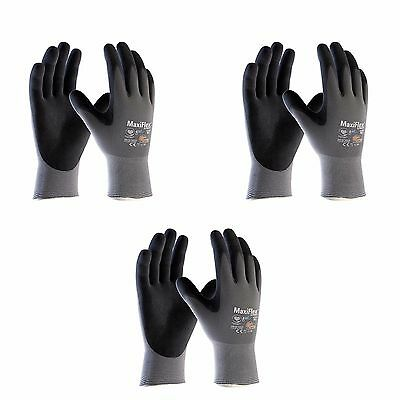 Atg Work Gloves Nitrile Grip Maxiflex Ultimate 42-874 Ad-apt 3 Pairs Xs-xxl