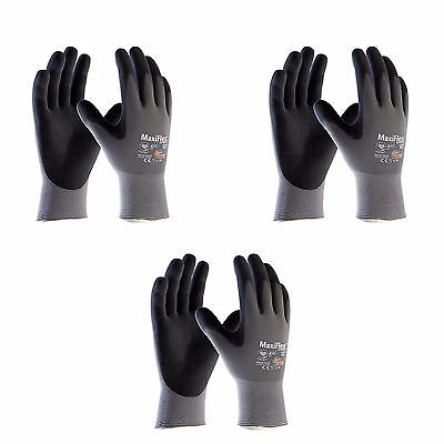 Atg Work Gloves Nitrile Grip Maxiflex Ultimate 42-874 Ad-apt 3 Pairs Xs-xxl