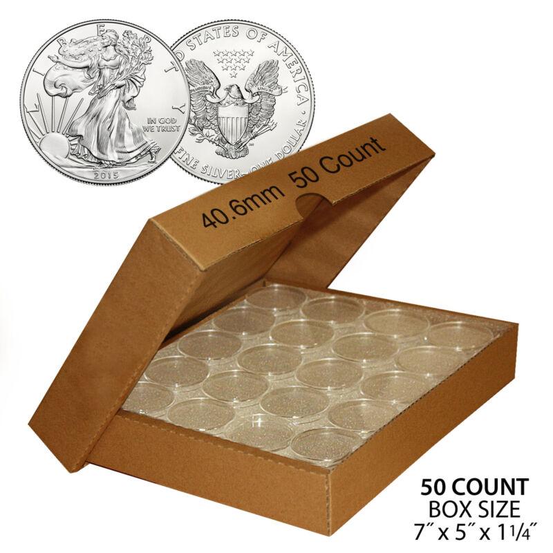 50 US 1oz SILVER EAGLE Direct-Fit Airtight 40.6mm Coin Capsule (QTY: 50) w/ BOX
