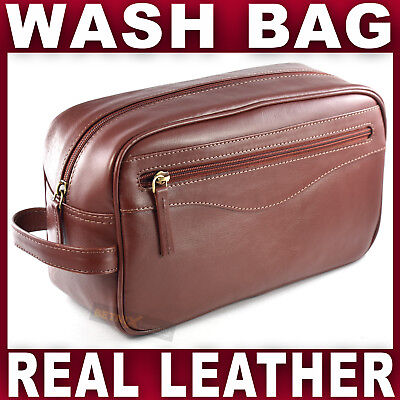 GENUINE LEATHER WASH BAG BROWN washbag toiletry travel holiday Gent's Mens NEW