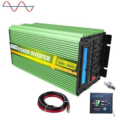 EDECOA Power Inverter 1500W 3000 Watt Pure Sine Wave 12V dc 110V 120V ac LCD RV ()