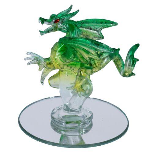 "Hand Blown Glass Green Dragon Figurine On Mirror Base 4.25"" High New"