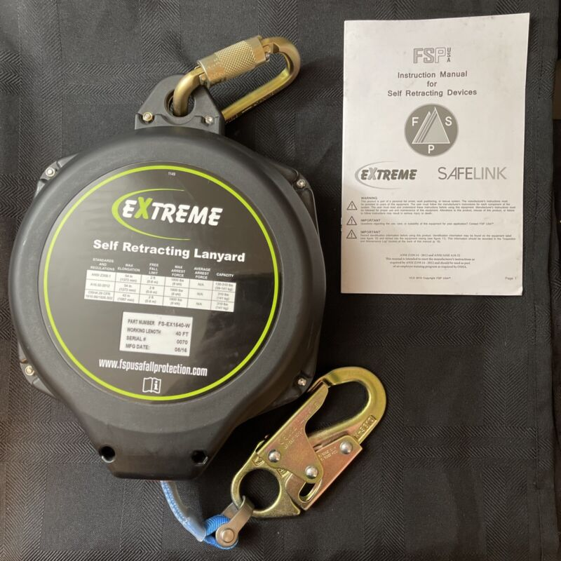 SafeWaze 40FT Web Retracting Lanyard With Snap Hook FS-EX1540-W FALL PROTECTION