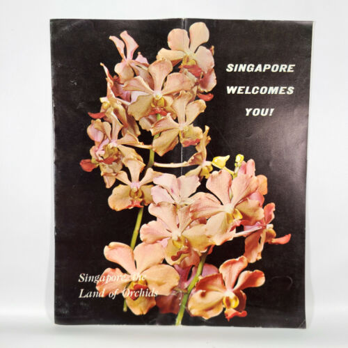 1960s Singapore Vintage Travel Brochure Land of Orchids Retro Vacation Trip