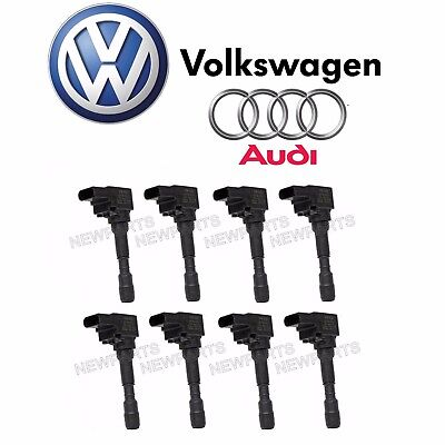 For Audi S6 S7 S8 Set of 8 Ignition Coil w/ Spark Plug Connector 079-905-110 L