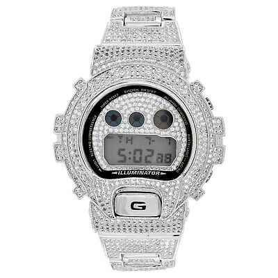 Digital Diverso DW6900 Custom G-Shock White Gold Tone Iced Out Band Bezel Watch