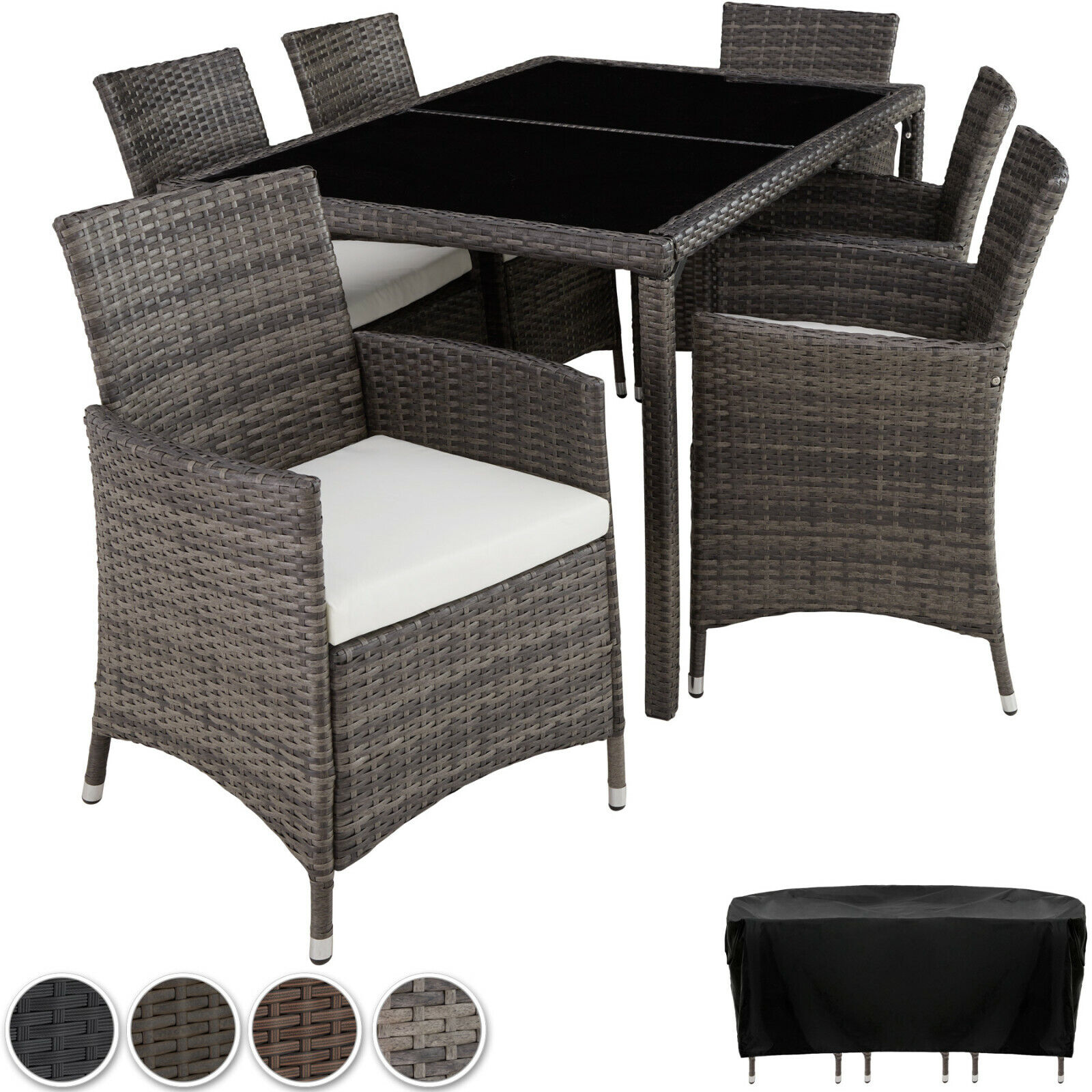 Garden Furniture - Set Rattan Garden Furniture 6 Chairs Table Dining Roomo Patio Outdoor Wicker New