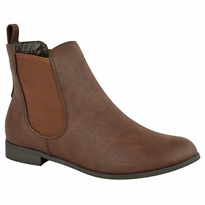 Womens Flat Chelsea Ankle Work Boots Casual Elastic Pull On Shoes Size
