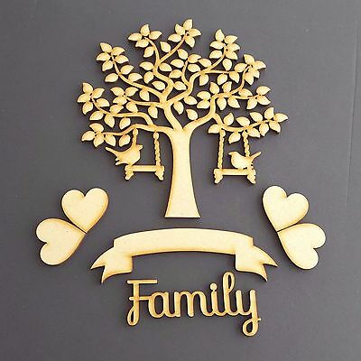 MDF Bird Family Tree Set Kit with Tree Hearts, Banner and Word- Wooden Guestbook