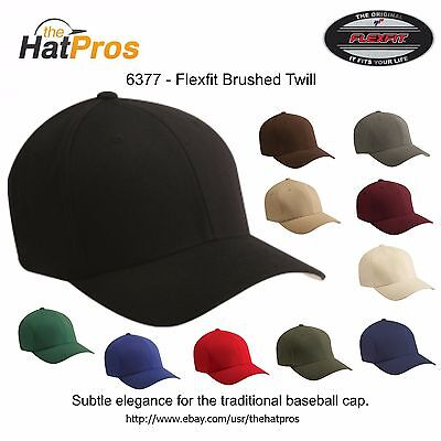 Brushed Twill Hat (6377 Authentic Flexfit® Men's Brushed Twill Fitted Hat All Colors S/M & L/XL)