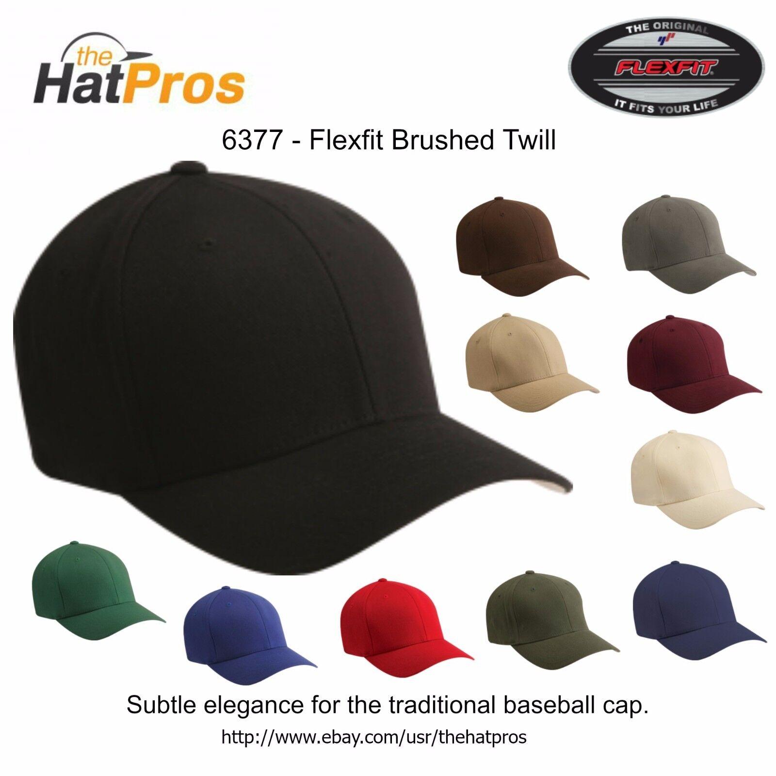 Изображение товара 6377 Authentic Flexfit® Men's Brushed Twill Fitted Hat All Colors S/M & L/XL