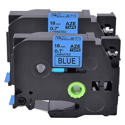 2pk Fits Brother P-touch Pt-h300 Tz-541 Tze-541 Black On Blue Label Tape 0.7