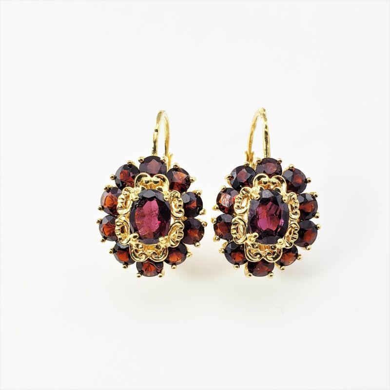 Vintage 18 Karat Yellow Gold and Synthetic Garnet Earrings #9120