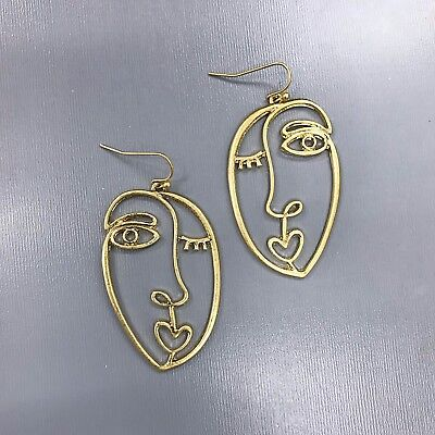 (Unique Matte Gold Finished Picasso Face Design Drop Dangle Hook Earrings )