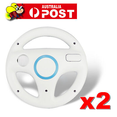 2x White Wii Racing Steering Wheel for Nintendo Wii U Wii Remote Controller AU