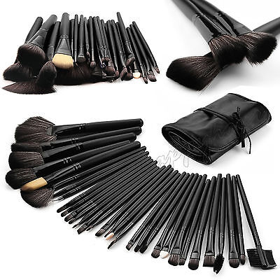 32 Pcs Kabuki Make Up Brush Beushes Set and Cosmetic Brushes Case Black