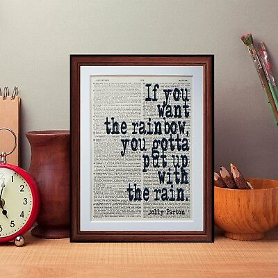 Dolly Parton  quote dictionary page literary art print book print lyric music