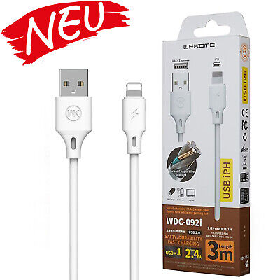 Apple IPHONE Cable USB Datos Cargador USB Tipo 3M Largo Negro ⭐⭐⭐⭐⭐