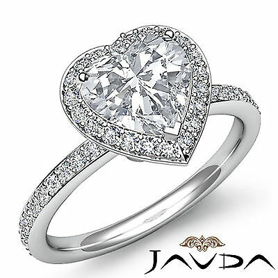 2 ct Halo Pave Heart Diamond Engagement Brilliant Ring 14K White Gold F SI1 GIA 1