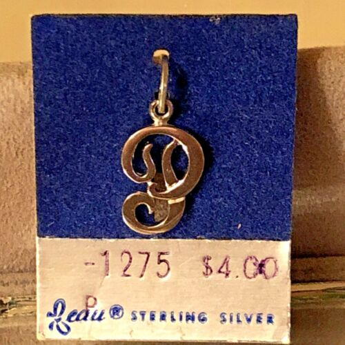 """NEW VTG Sterling Silver Beau Initial """"P"""" Charm Pendant 3/4"""" On original card"""