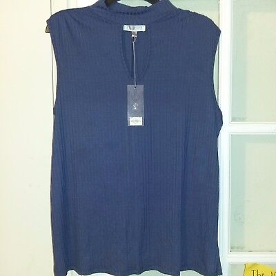 Jennifer Lopez size XL blue denim choker neck sleeveless womens pullover top NWT