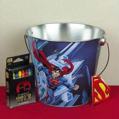 Superman Metal Bucket Batman & Robin Crayons The Arctic Fortress Of Solitude - Superman Bucket