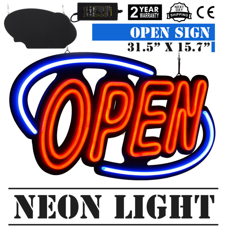 Big Horizontal 31.5X15.7 Neon OPEN Sign 60W LED Light Bright  Fraternity Houses