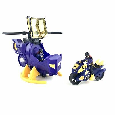 Imaginext DC Super Friends Batgirl Helicopter & Cycle 2X Figs USED Fisher-Price