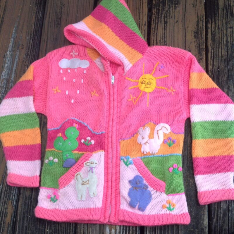 Vintage Handmade Knit Girls Sweater S Pink Green Llama Bunny Hoodie Zip Cardigan