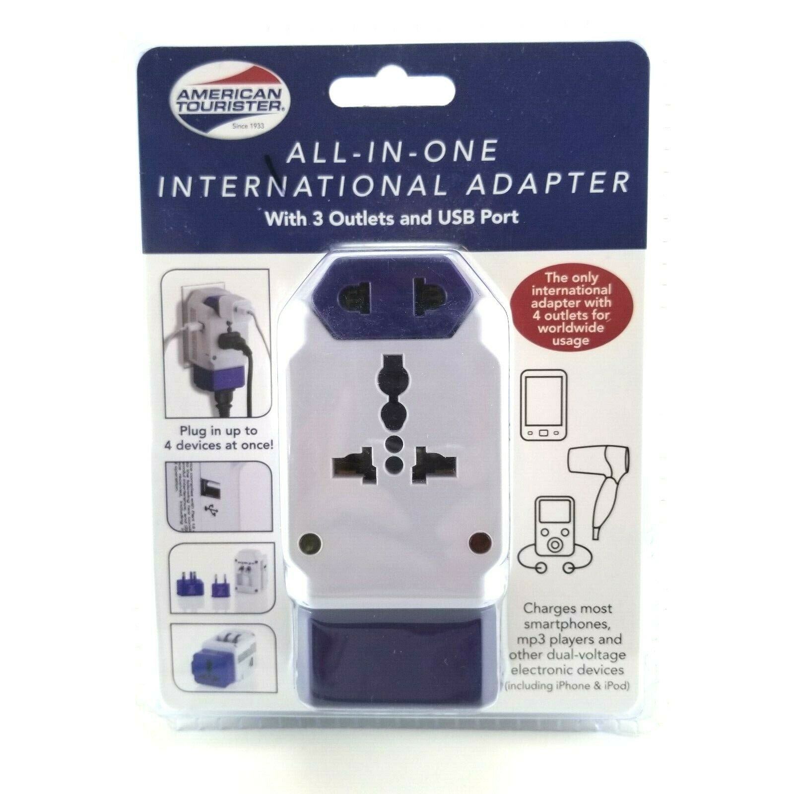 American Tourister All-in-one International Adapter plug with 3 outlets and USB