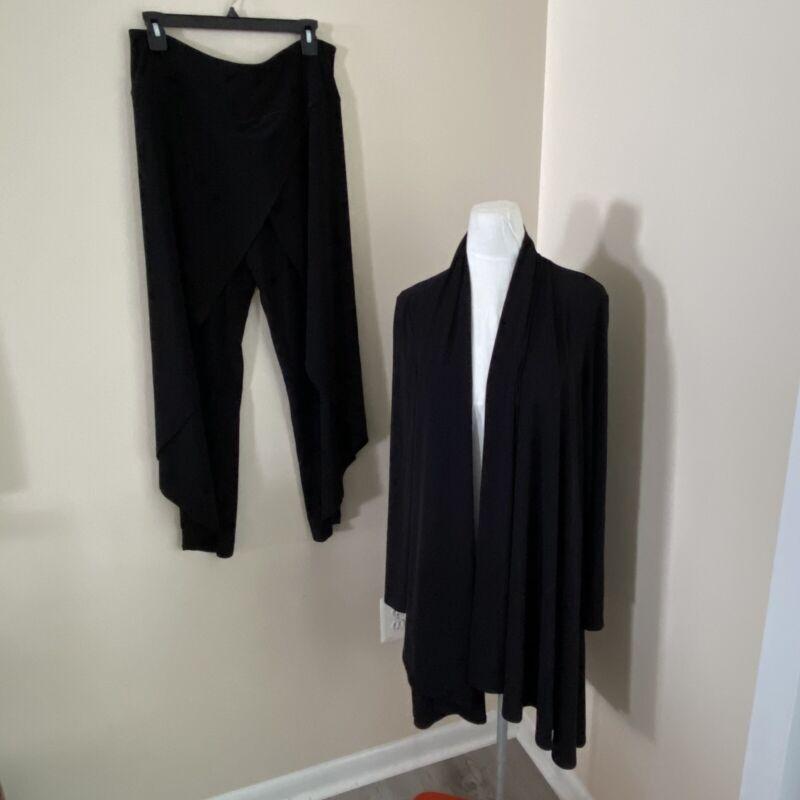 joseph ribkoff black cardigan draped pants set womens size 12 14
