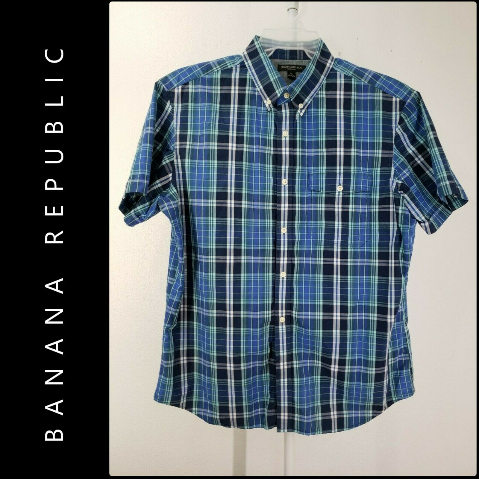 Banana Republic Men Short Sleeve Plaid & Check Dress Shirt S