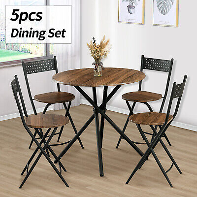 5 Piece Metal Dining Table Set w/ 4 Folding Chairs Wood Top Dining Room Brown Dining Room Round Bedroom Set