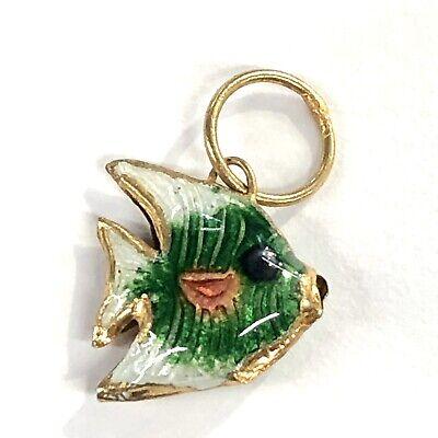 """Angel Fish .5"""" Pendant Charm Cloisonne Enamel Vintage 1980s Small -"""
