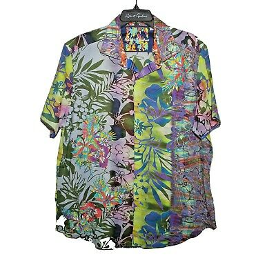 KOMODO Eco 100/% Rayon Floral Design Short Sleeve Shirt SLIM FIT Size XL RRP £65