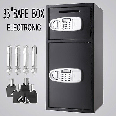 Security Safe Deposit Drop Box Depository Digital Keypad Double Doors Electronic