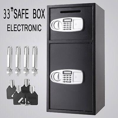Security Safe Deposit Drop Box Depository Digital Keypad Double Doors Electronic